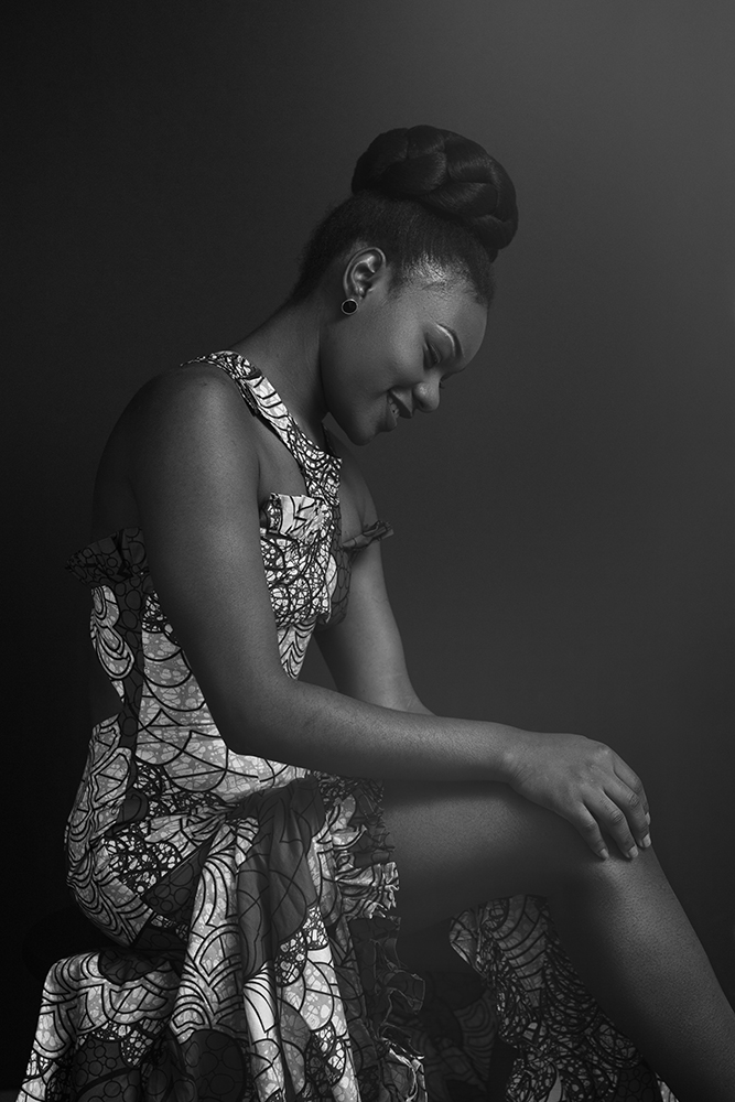 Black & White Portrait in African Dress