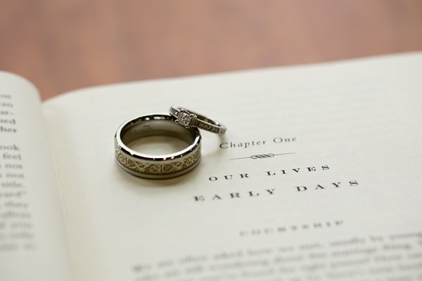 wedding bands on book