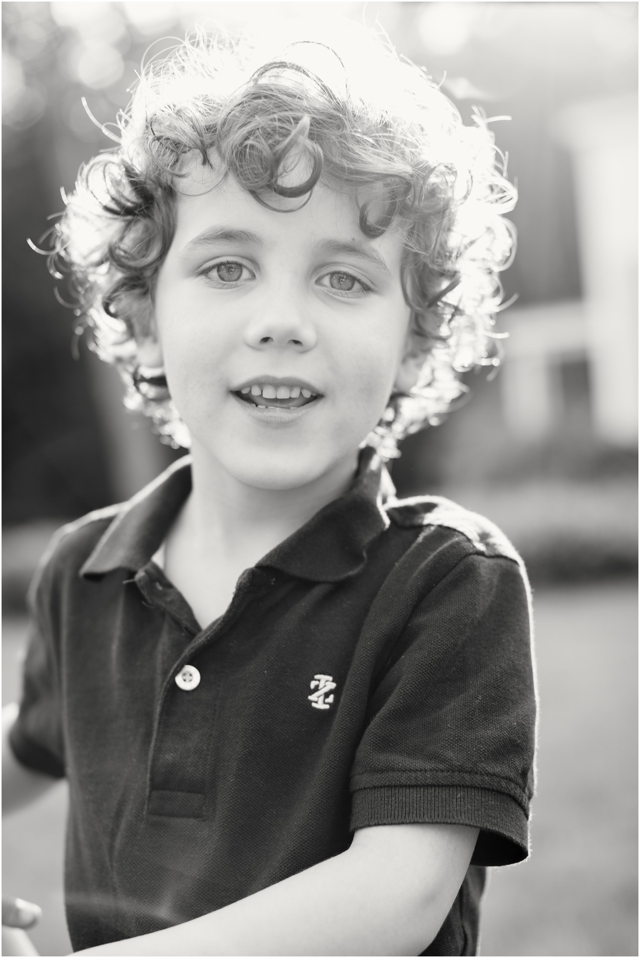 black and white portrait of five-year-old boy