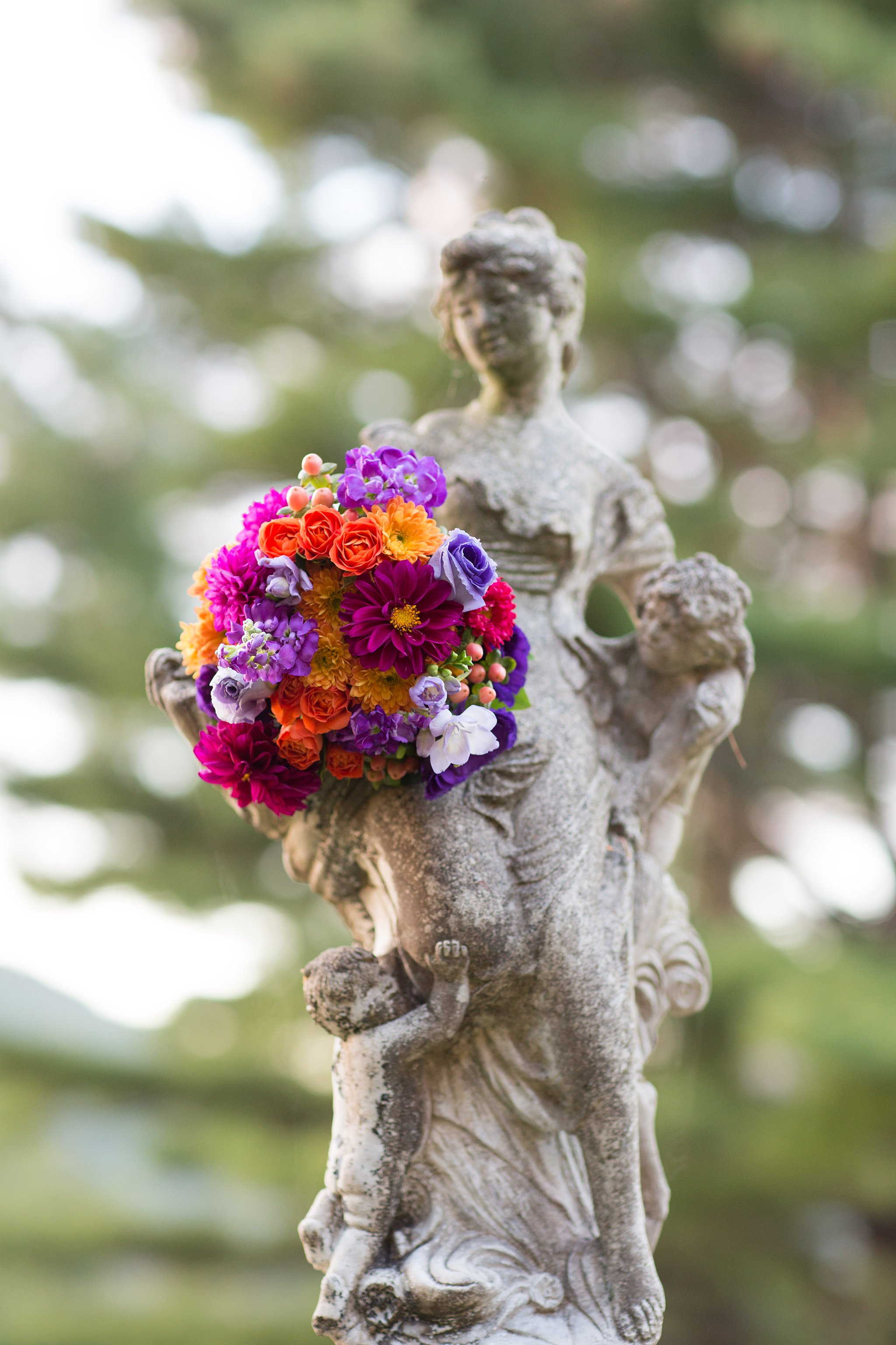 Bridal Bouquet and Garden Statue