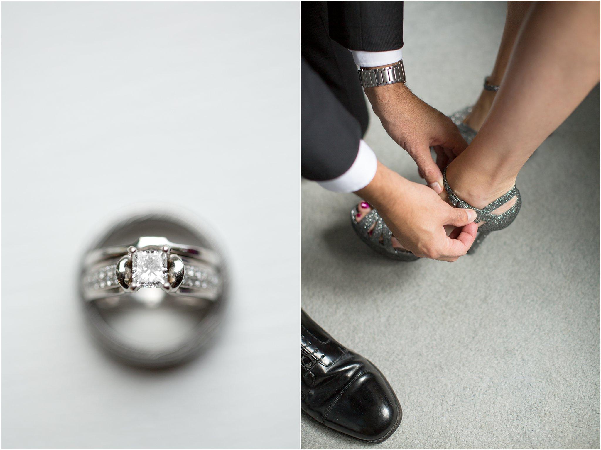 Wedding rings and groom helping bride