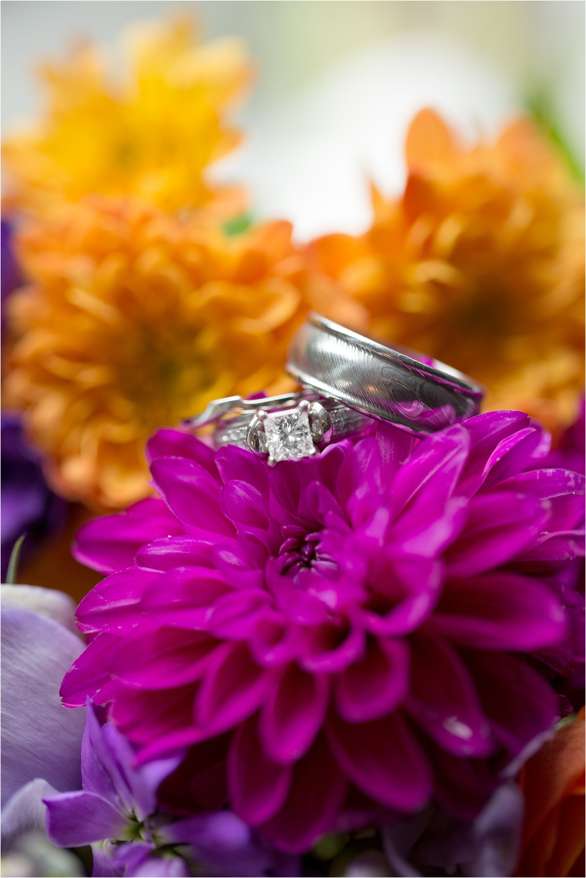Wedding rings and fall bridal bouquet