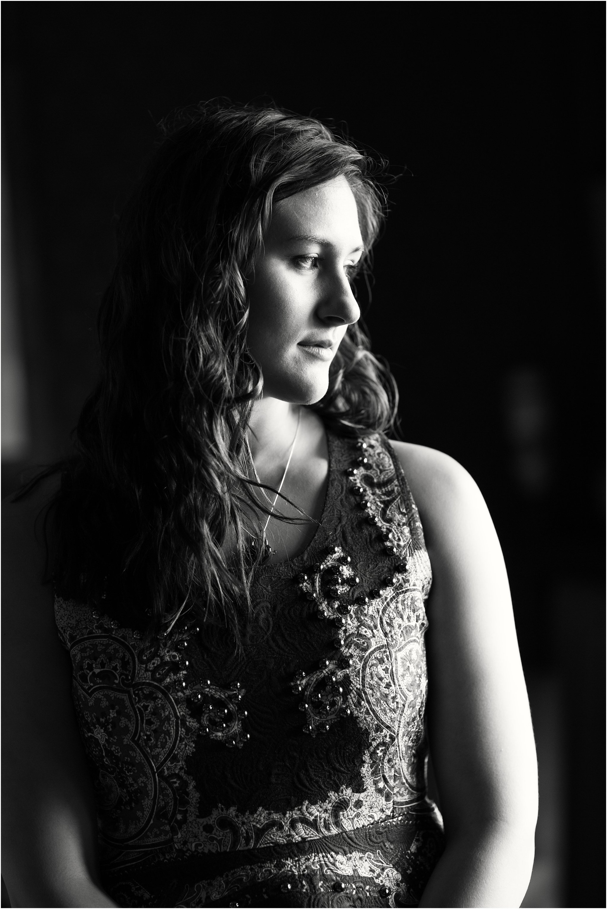 Black and White Portrait of Bride-to-Be