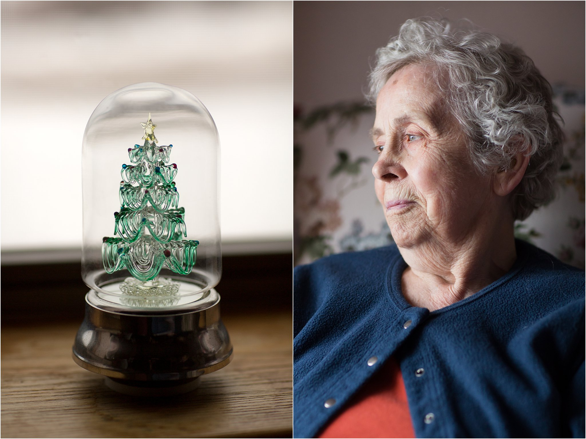 Portrait of Elderly Woman with Christmas Tree