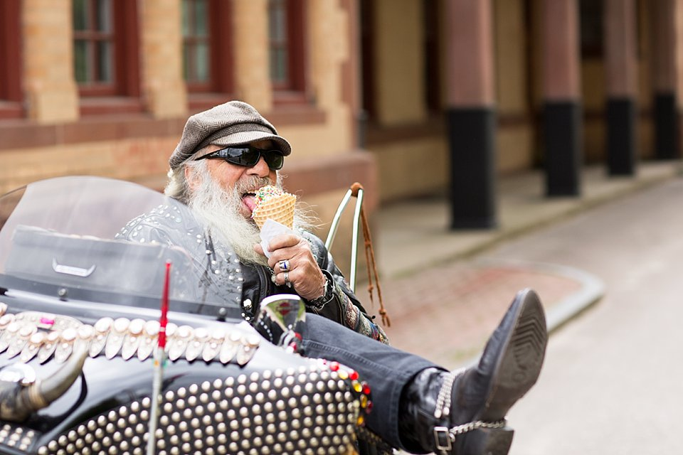 Biker on Harley Davidson, Eating Ice Cream