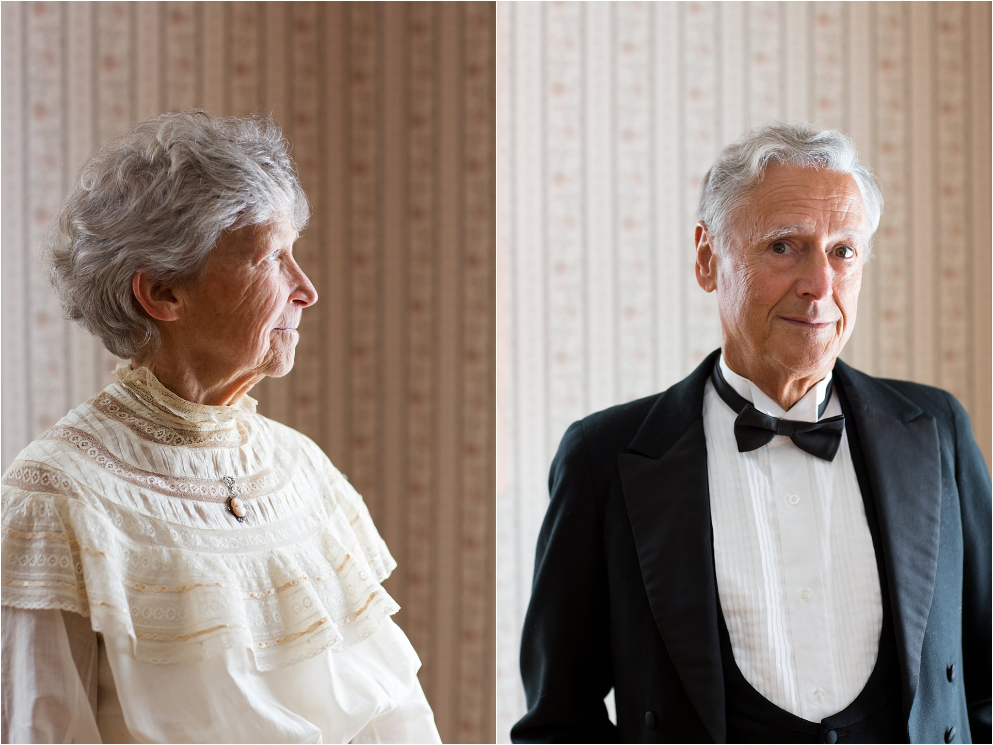 Portraits of couple wearing antique wedding dress and tuxedo