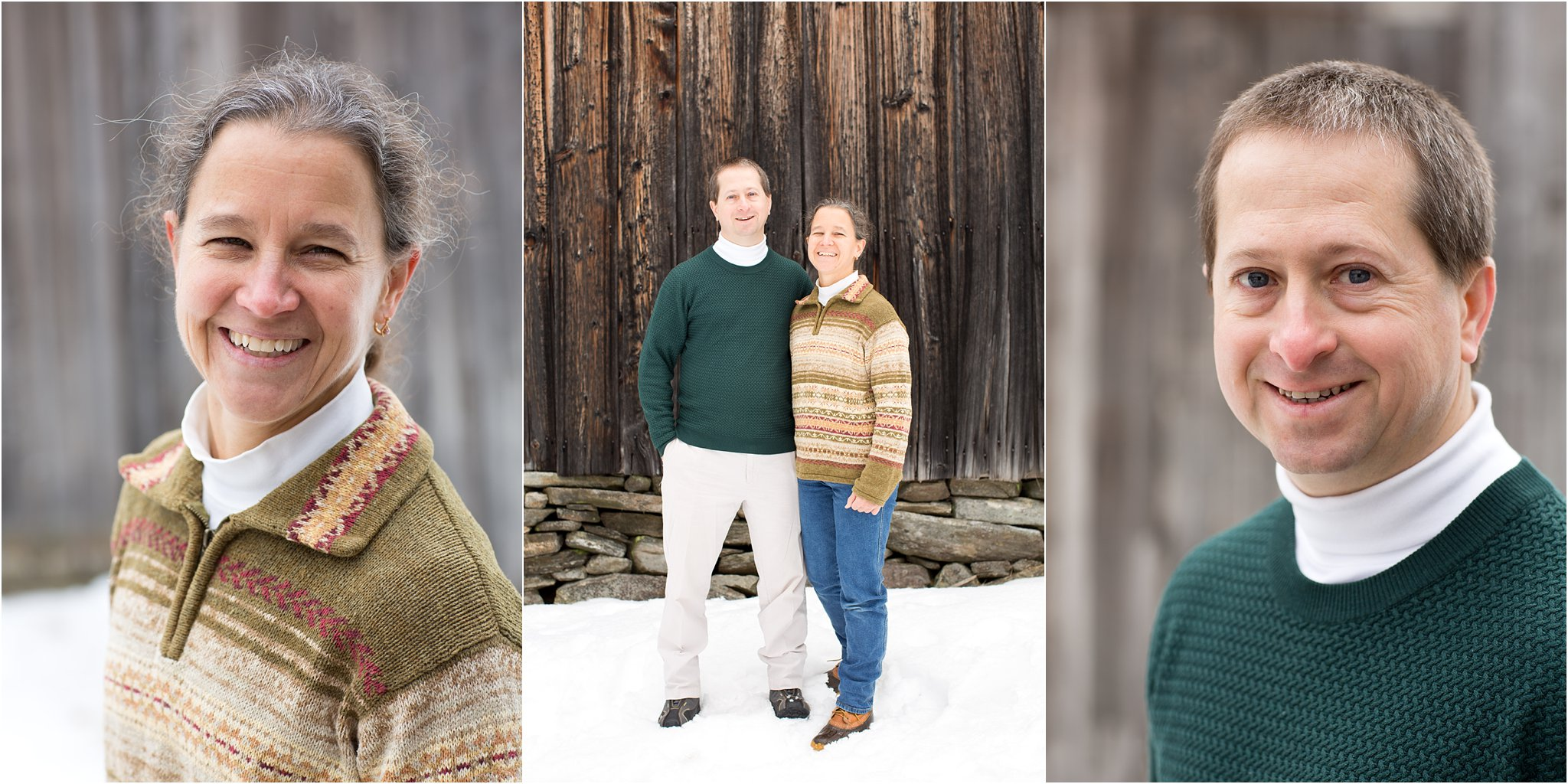 family photos by a barn