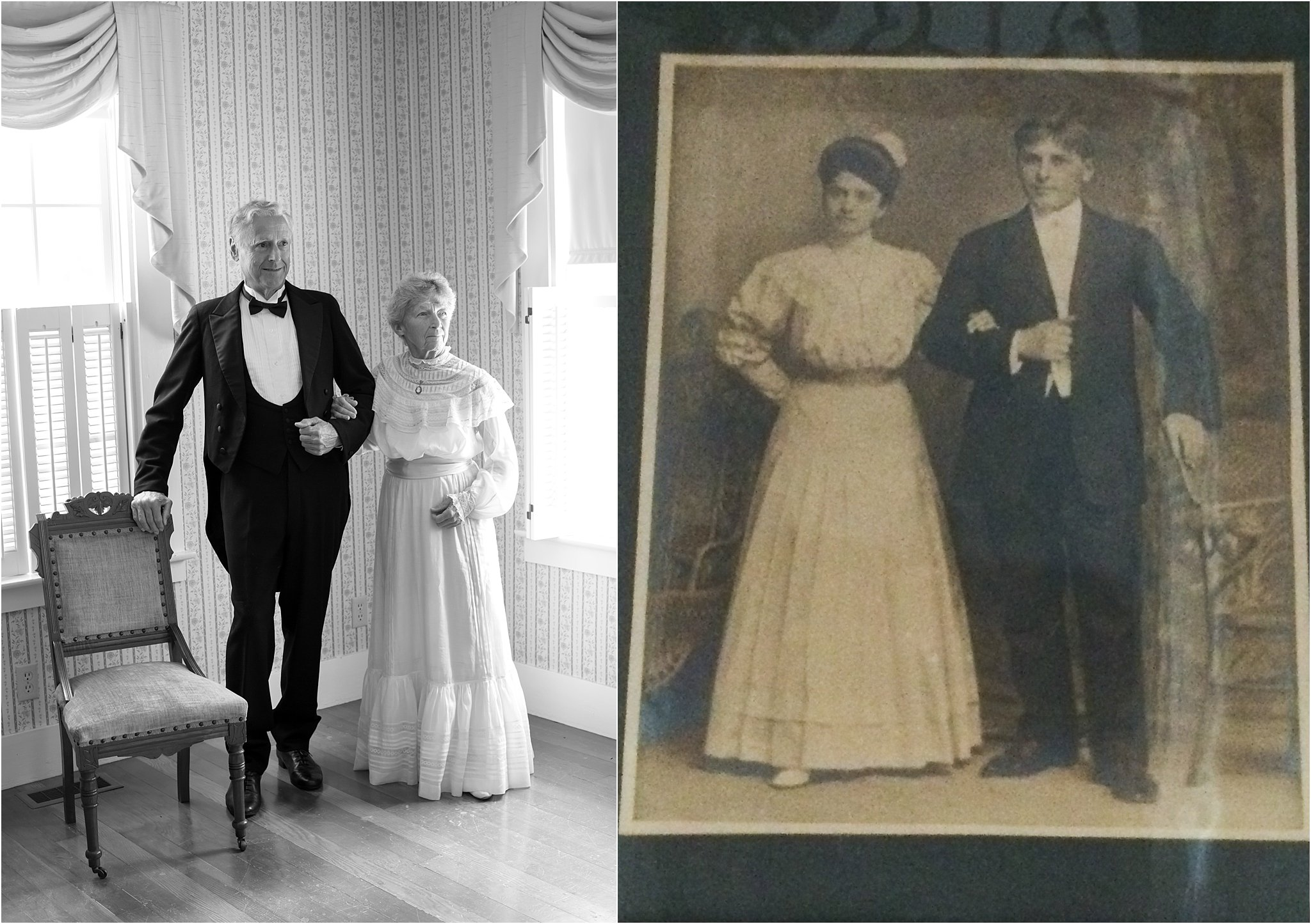 couple wearing old-fashioned wedding outfits