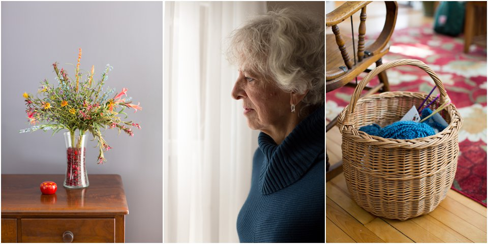 still life, profile portrait, knitting basket