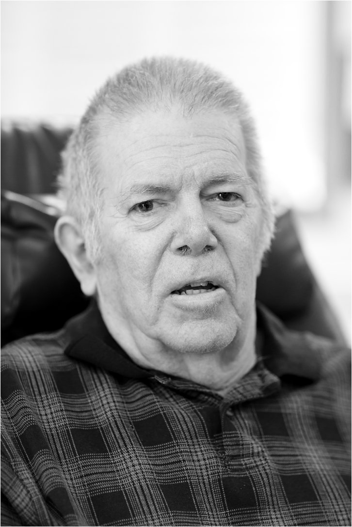 Black and white portrait of elderly man