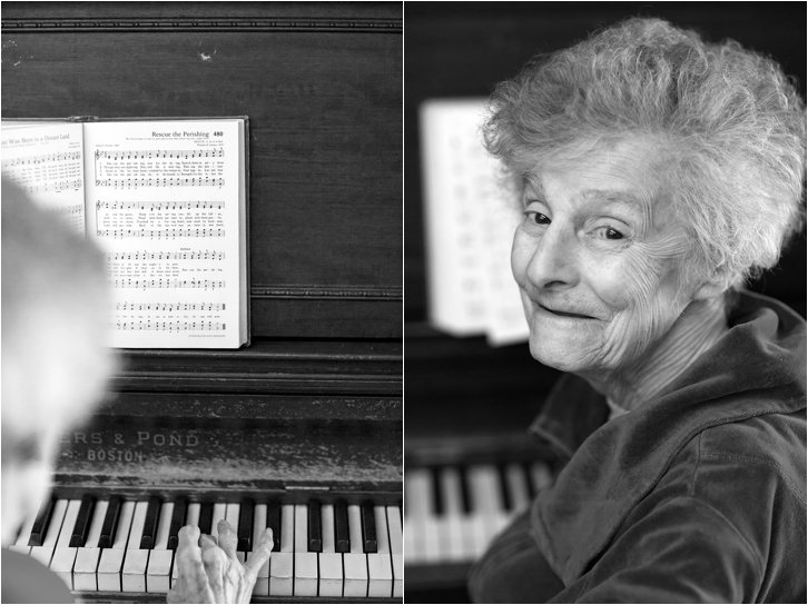 Elderly woman at piano