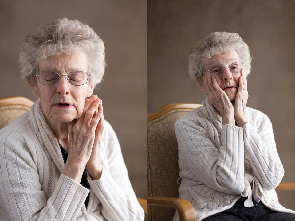Elderly woman singing and praying (C) Maundy Mitchell