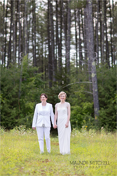 Same sex couple outdoor wedding portrait