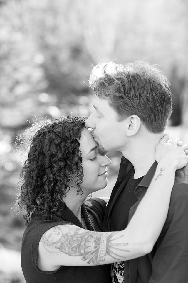 Black & White Portrait of Engaged Couple