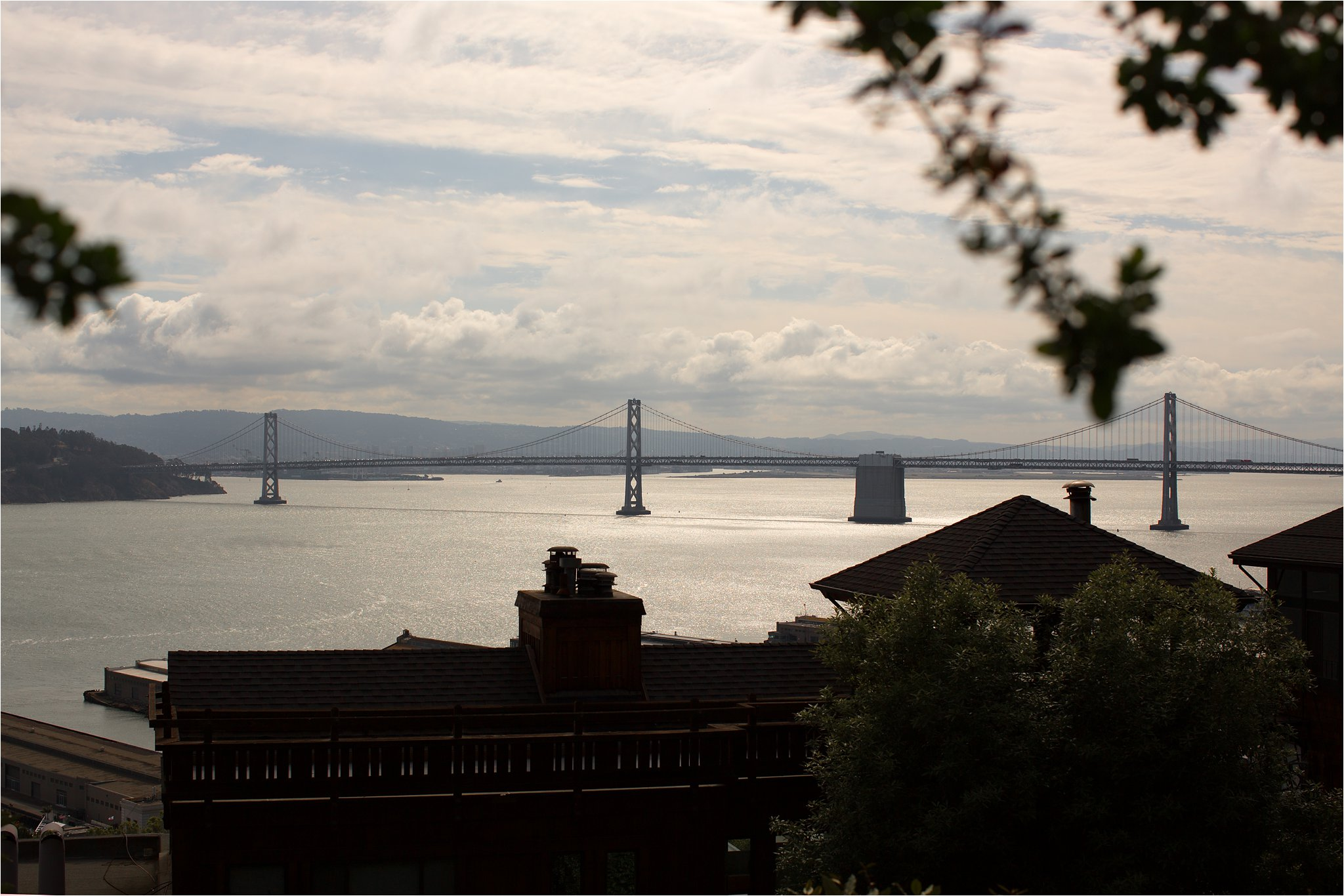 Sunset View of the San Francisco Bay Bridge from Telegraph Hill