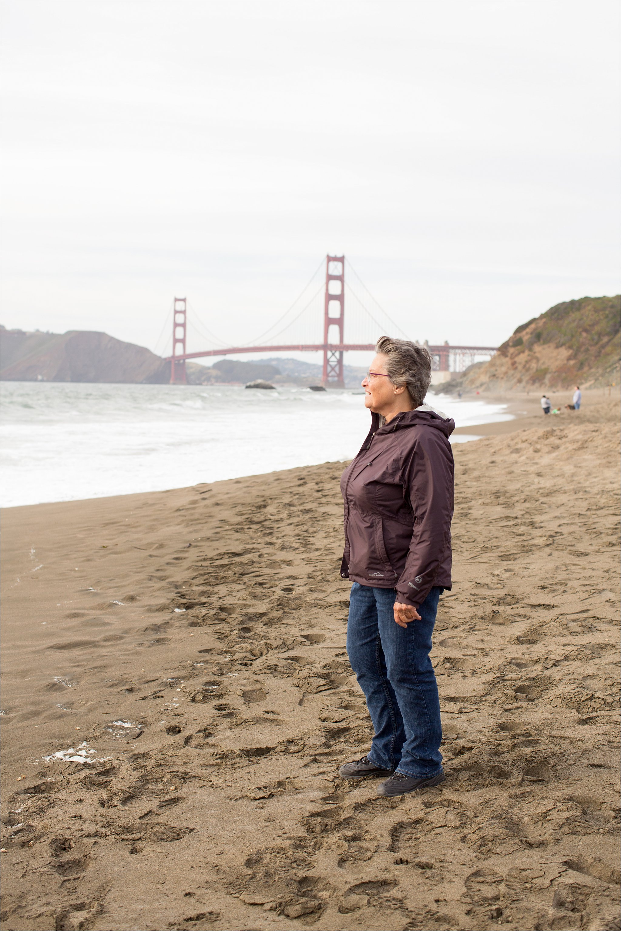 Mom at Baker Beach, San Francisco