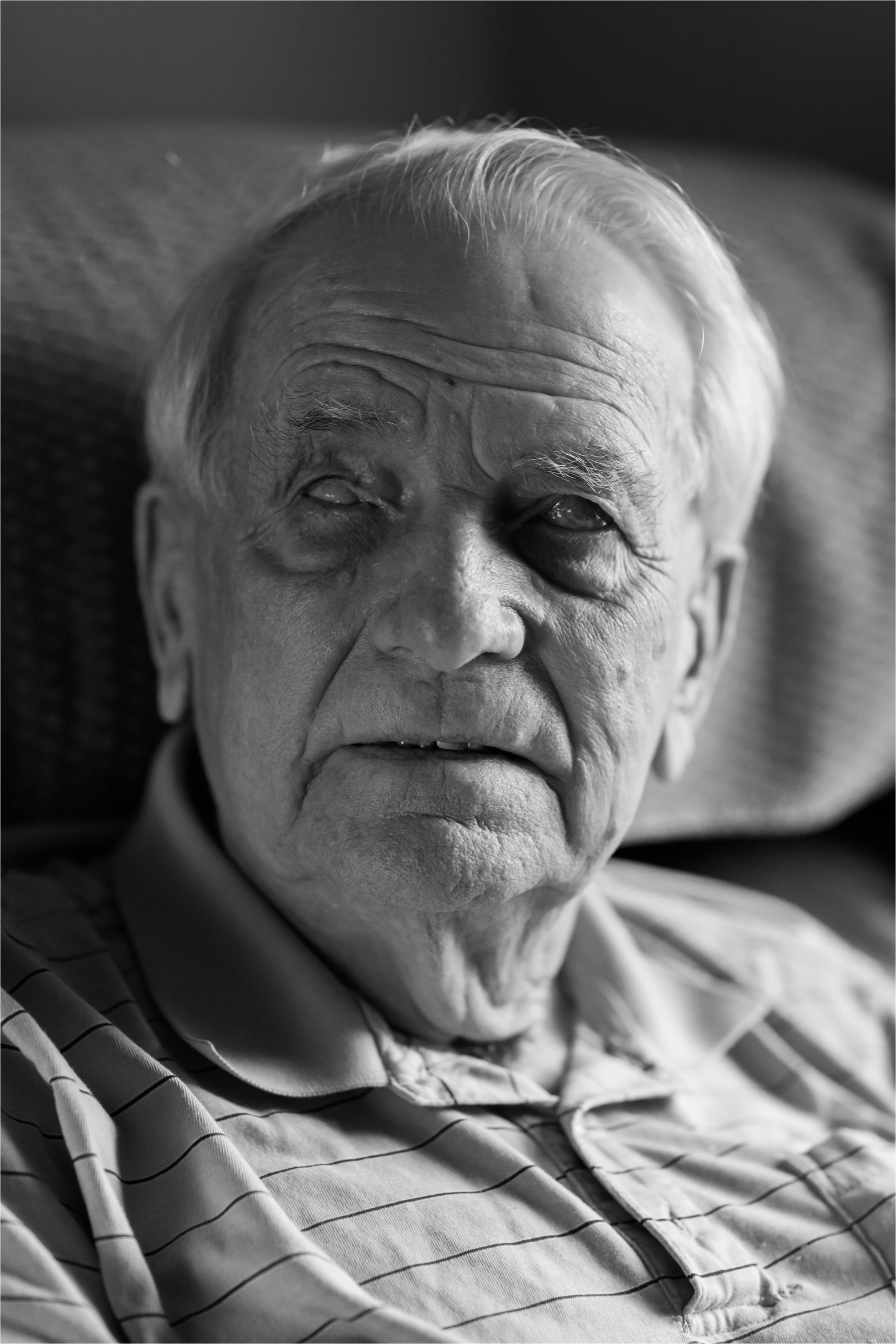 Black and White Portrait of Blind Man