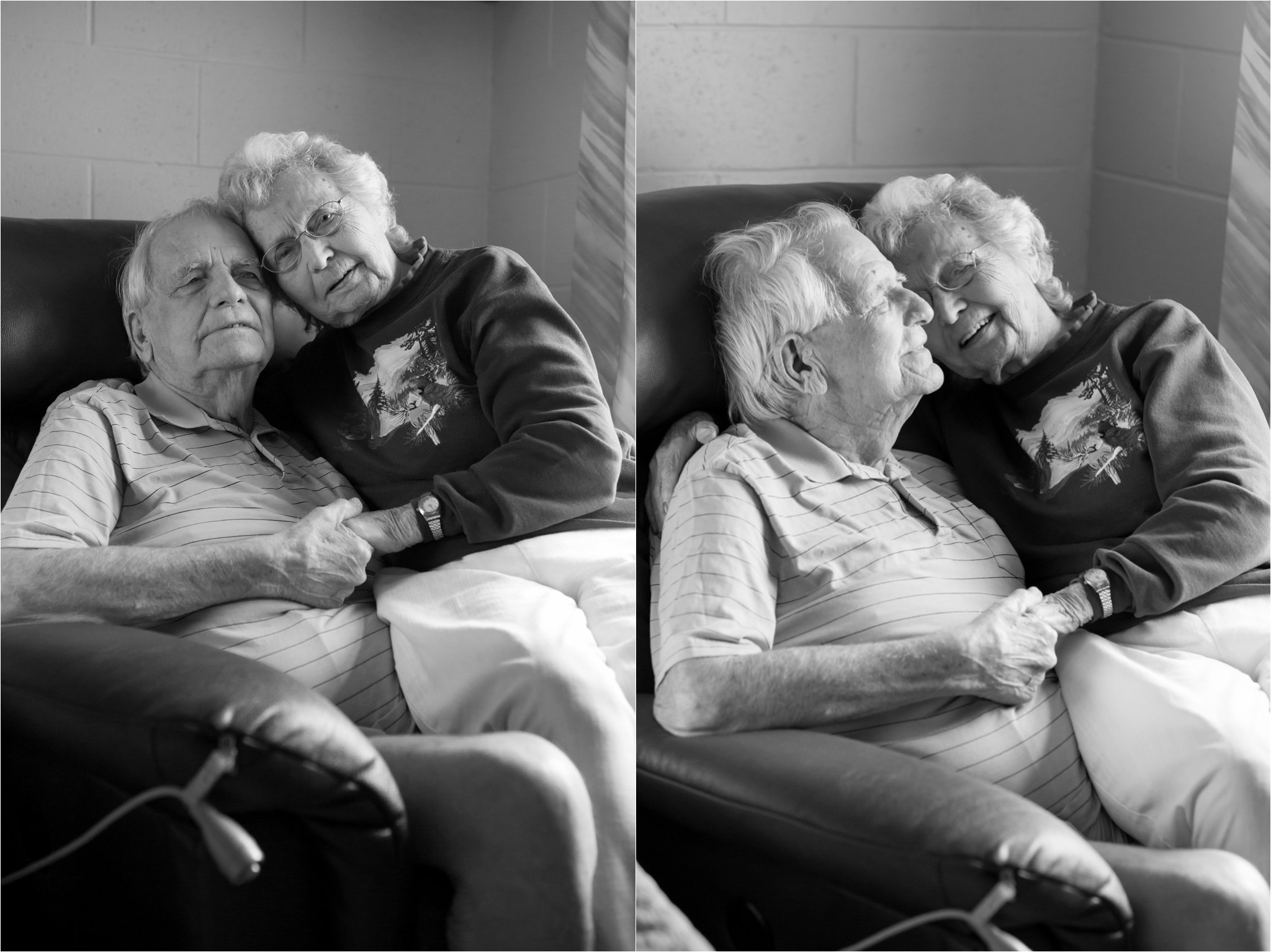 Photographs of Loving Elderly Couple