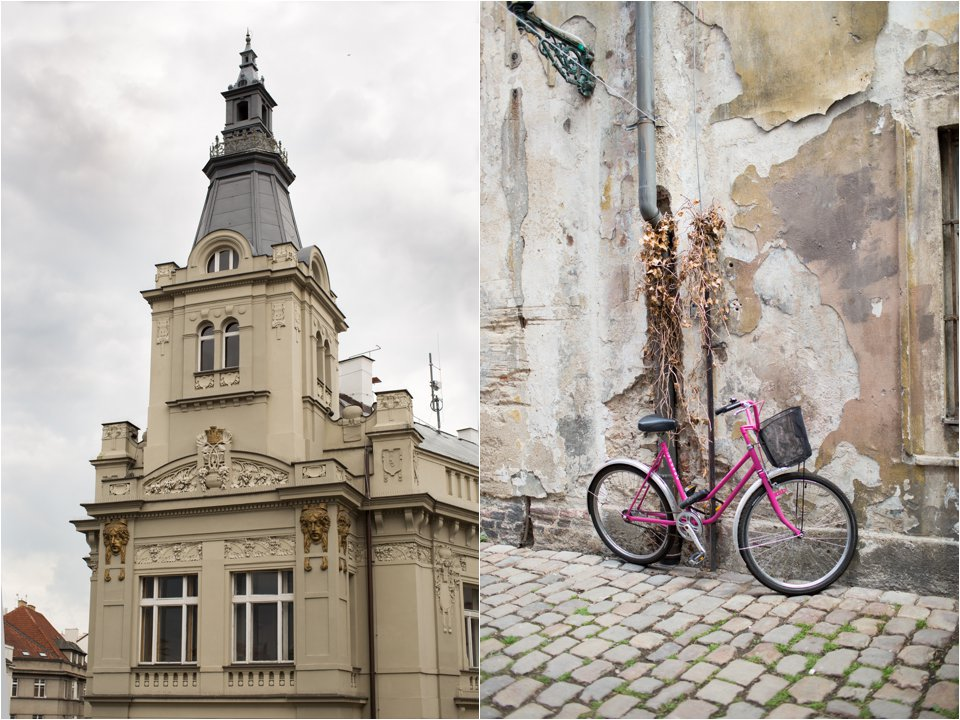 Building & Pink Bicycle in Prague (C) Maundy Mitchell