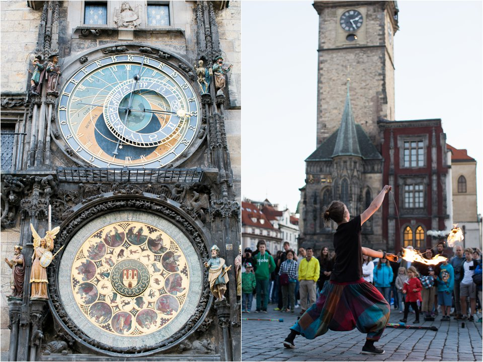 Clock and Street Performer in Prague (C) Maundy Mitchell