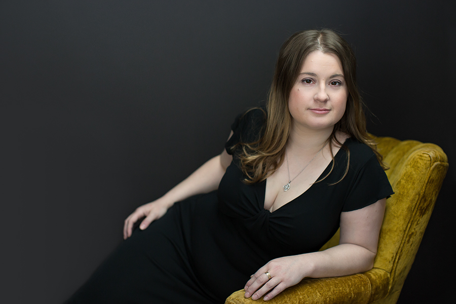 Portrait of Yvonne in Gold Chair