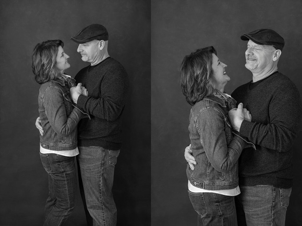 Black and white casual portraits of the couple