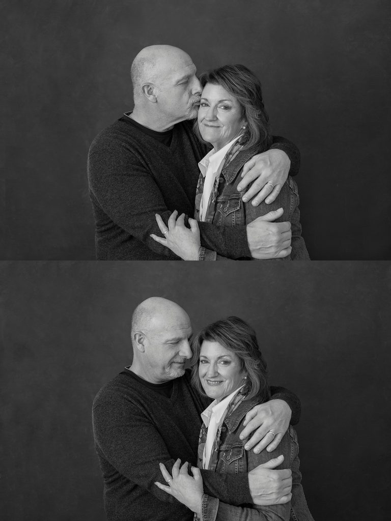 Black and white casual portraits of Susan and Tom together