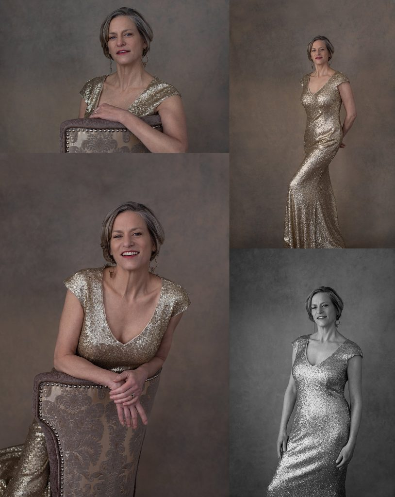 Portraits of a woman in a gold evening gown