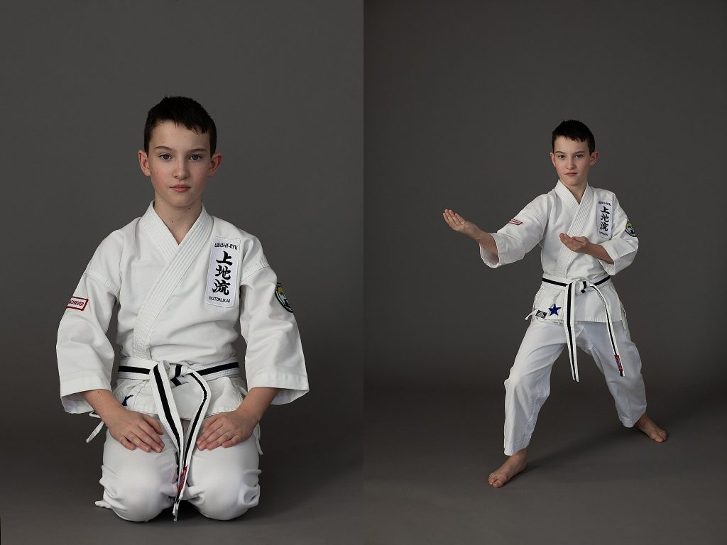 Portraits of a boy wearing a karate gi (uniform)