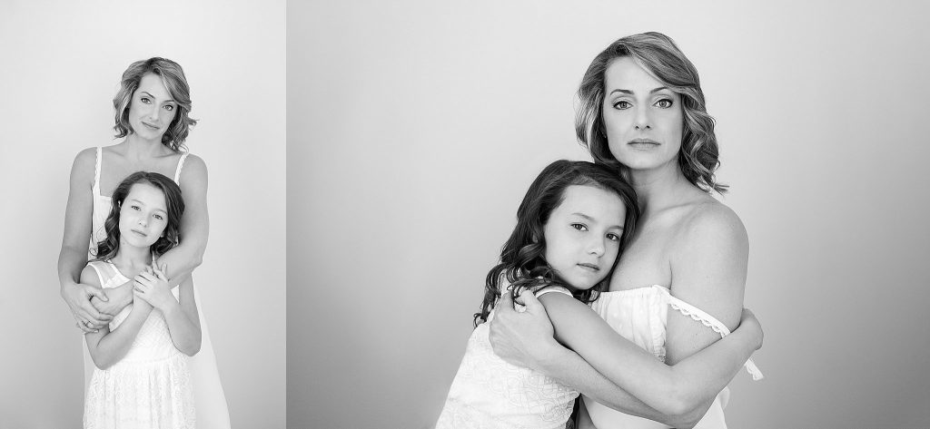 Black and white portraits of mother and daughter