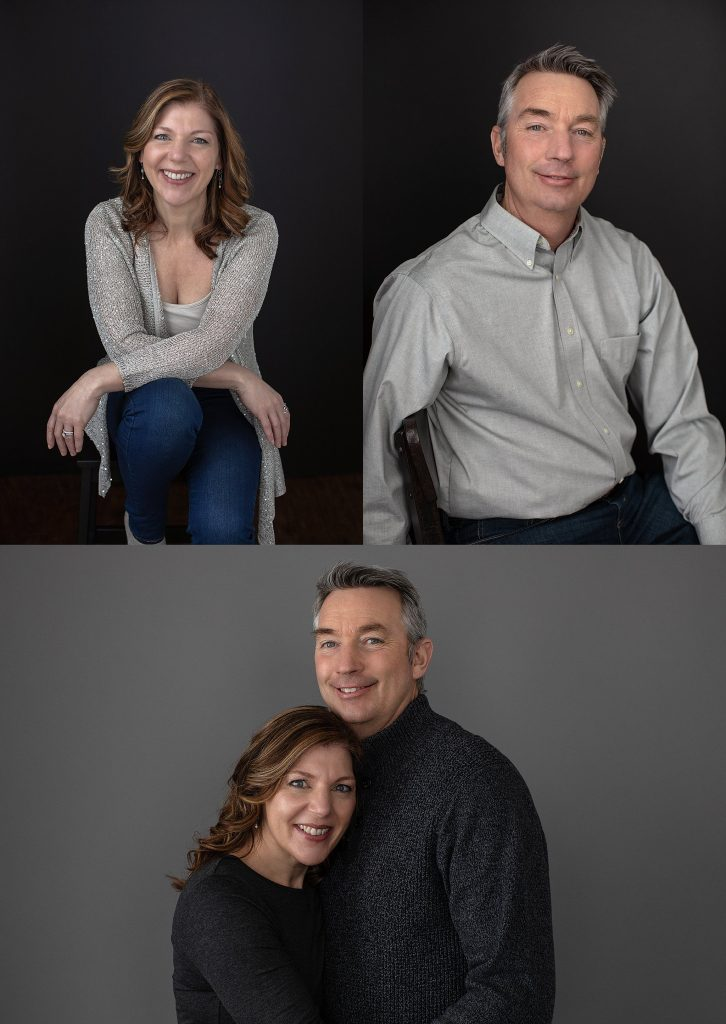 Casual studio portraits of a NH couple