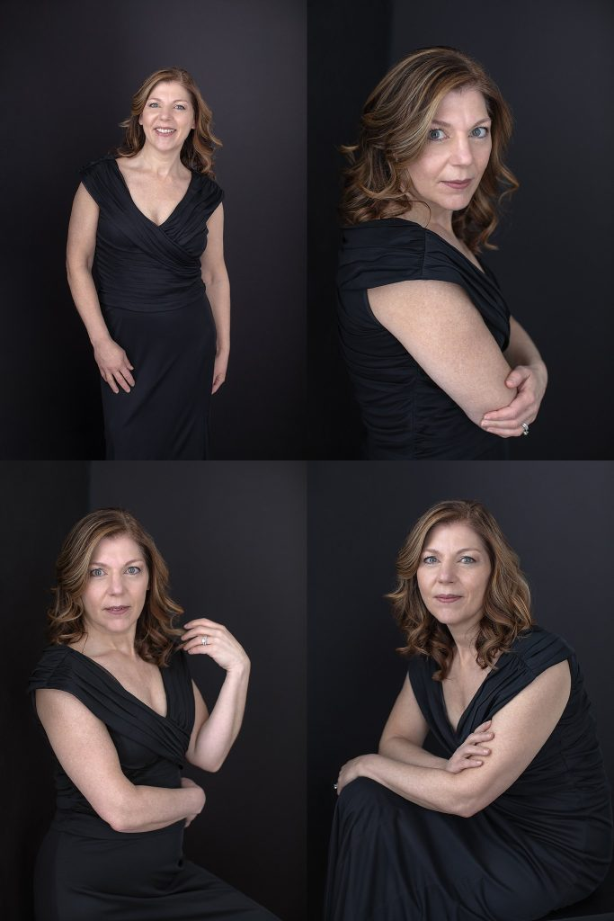 Portraits of Kimberly in a black dress
