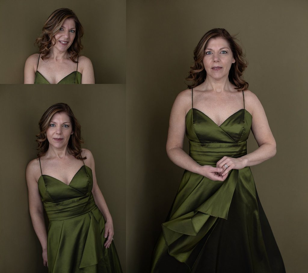 Portraits of Kimberly in a green silk dress