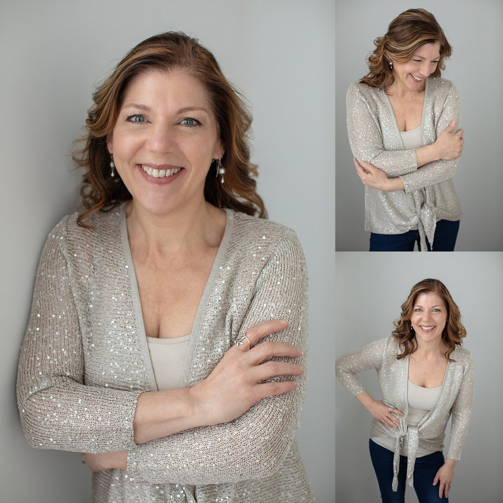 Personal branding portraits of Kimberly in a sparkly sweater