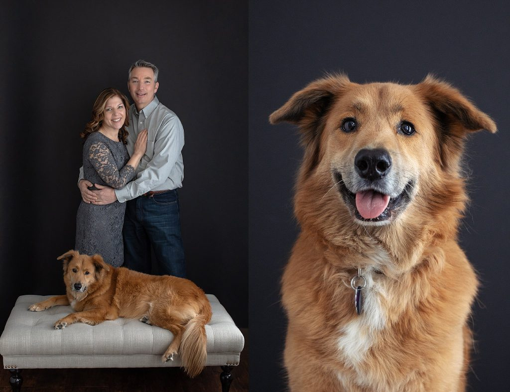 Portraits of a couple and their dog