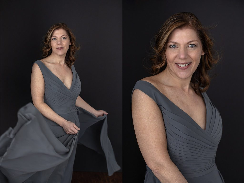 Portraits of Kimberly in a gray dress