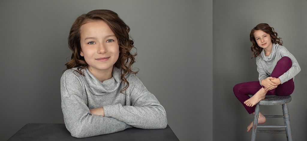 Portraits of Leah with gray background