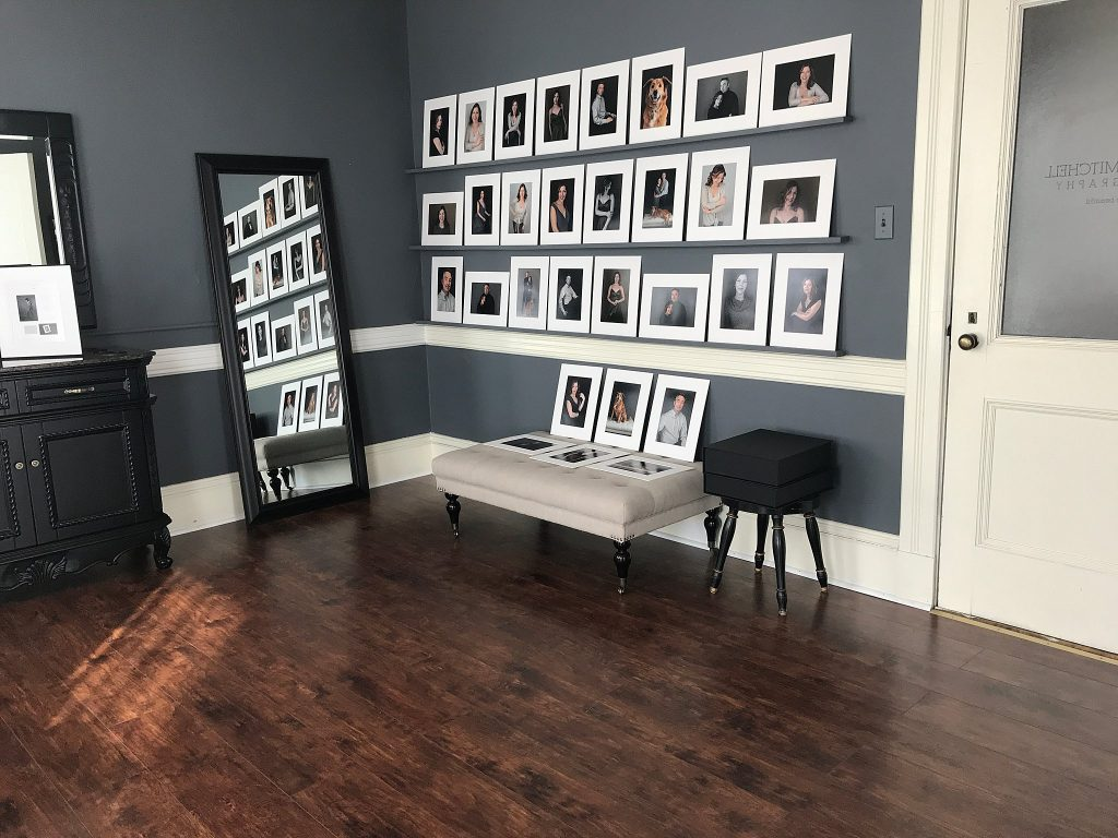 The Print Reveal wall at Maundy Mitchell Photography studio