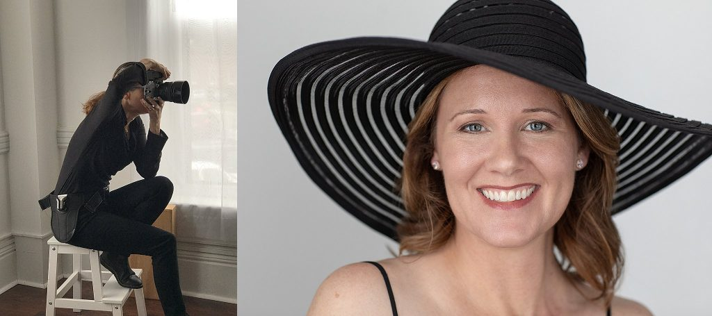 Behind the scenes - photographer, and portrait of Rebecca in a large-brimmed hat