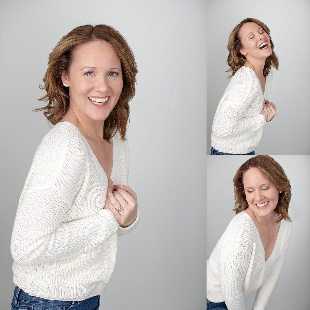 Three portraits of Rebecca in a white sweater