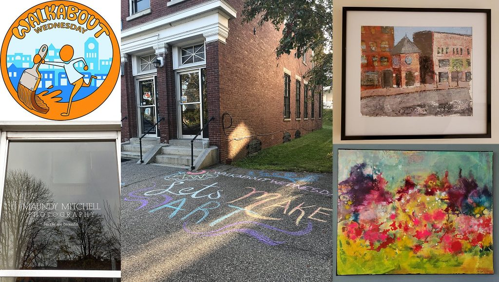 Walkabout Wednesday collage for July 10, 2019.  Maundy Mitchell Photography studio, sidewalk chalk, Betsy Ayotte's paintings.