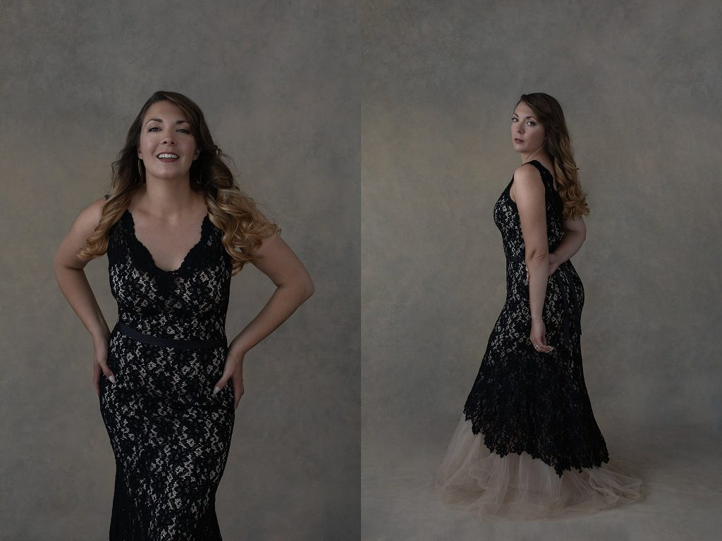 Portraits of Kate in black lace gown