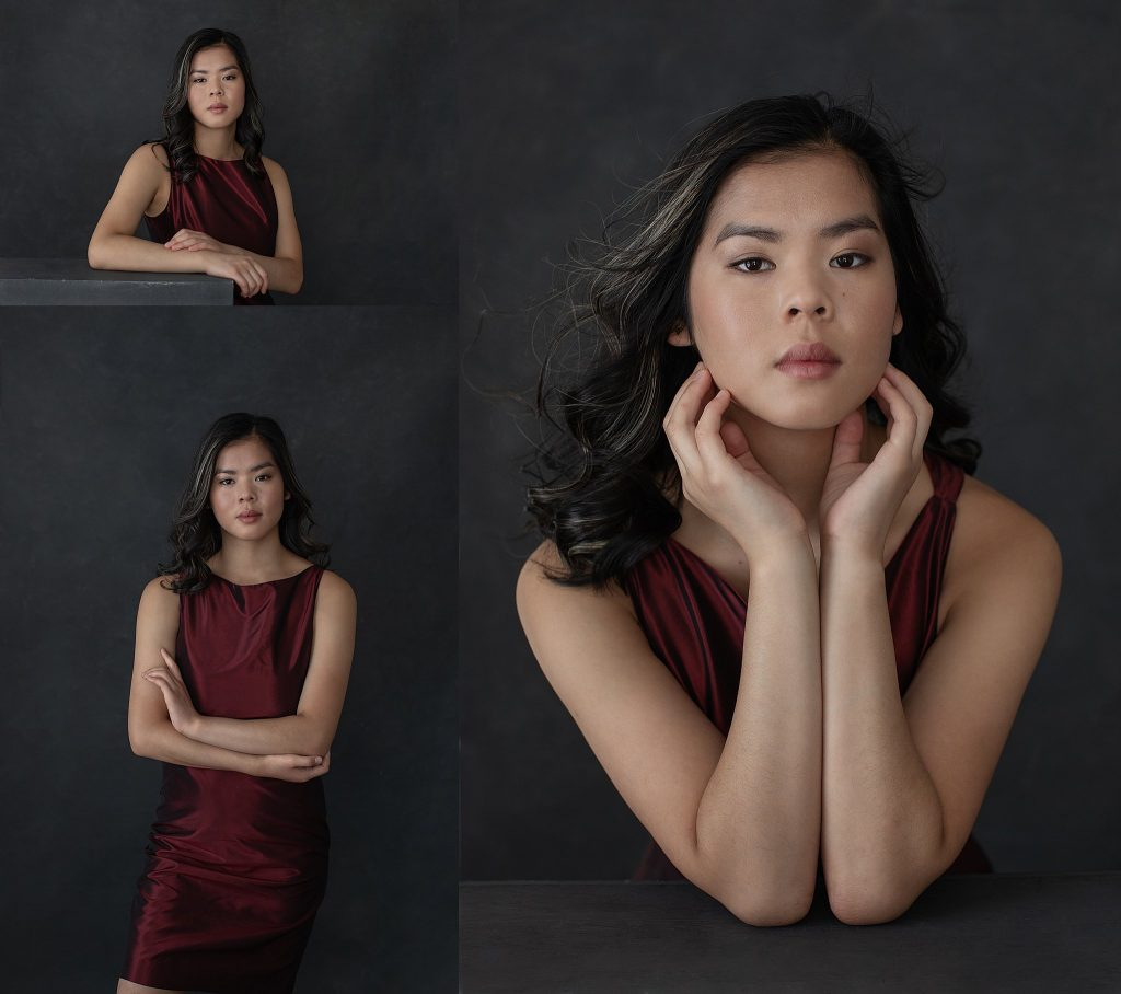 Ella - Portraits in Dark Red Silk Shift Dress