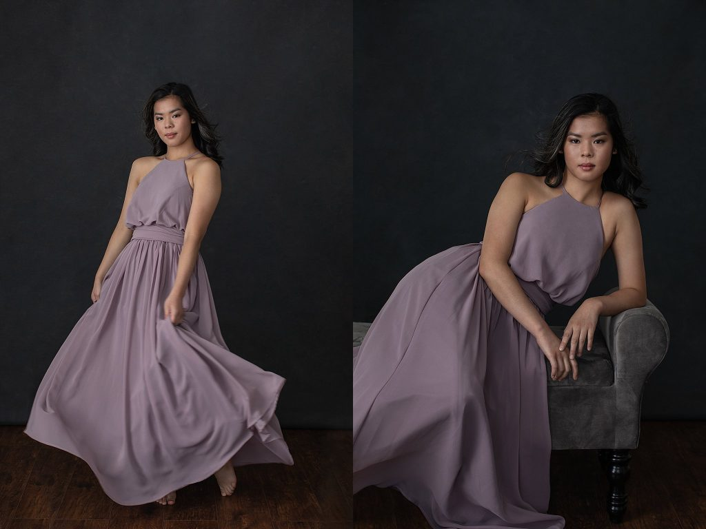 Portraits of Ella in Long Purple Dress