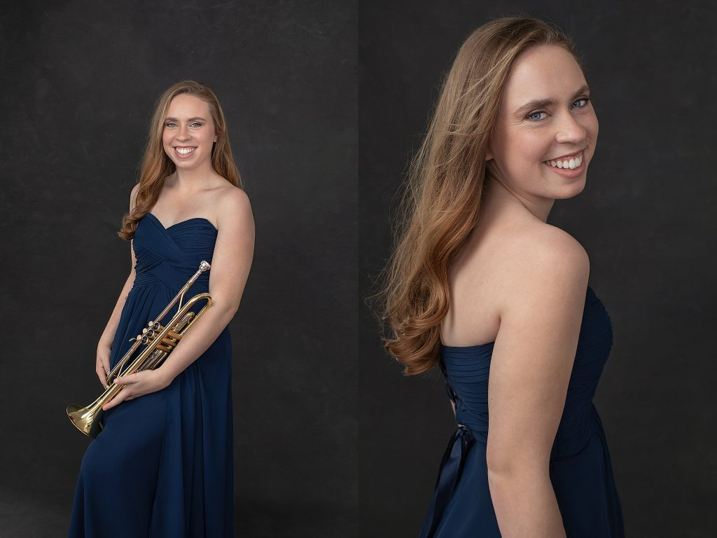 Kenzie in blue dress with trumpet
