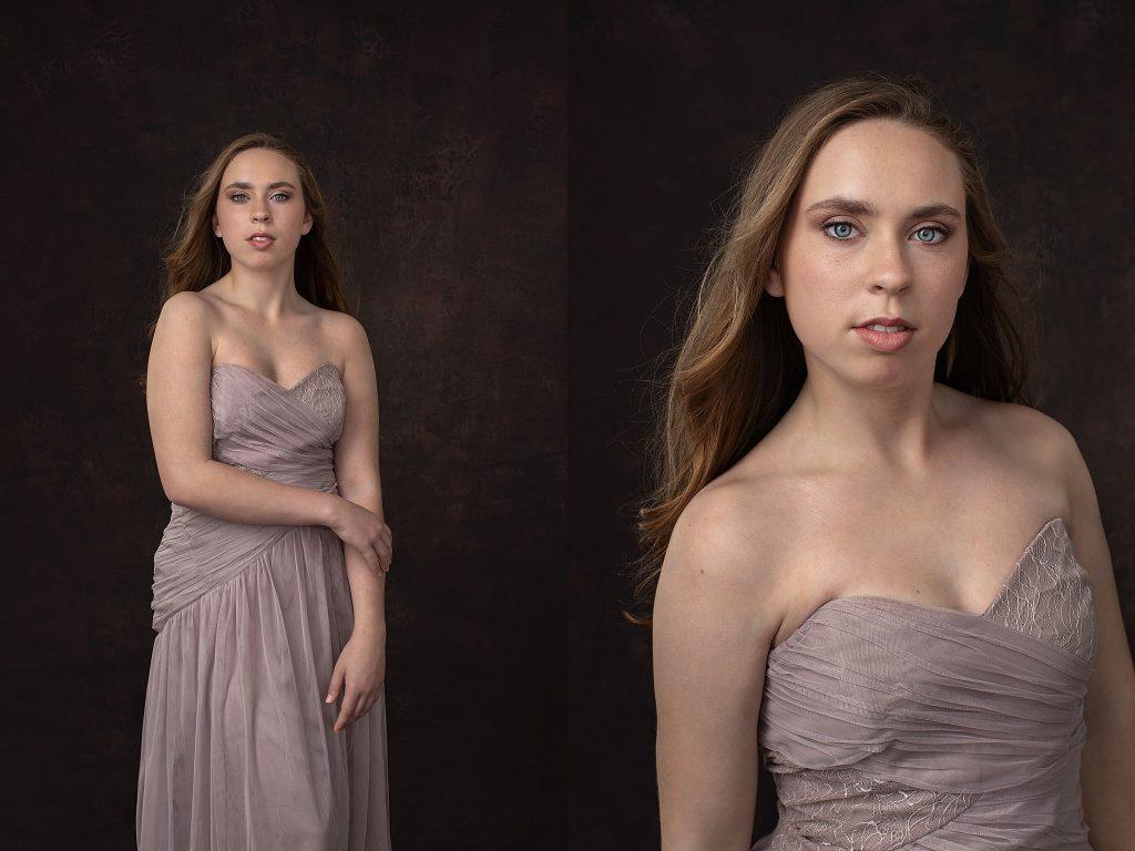 Studio portraits - Kenzie in mauve gown