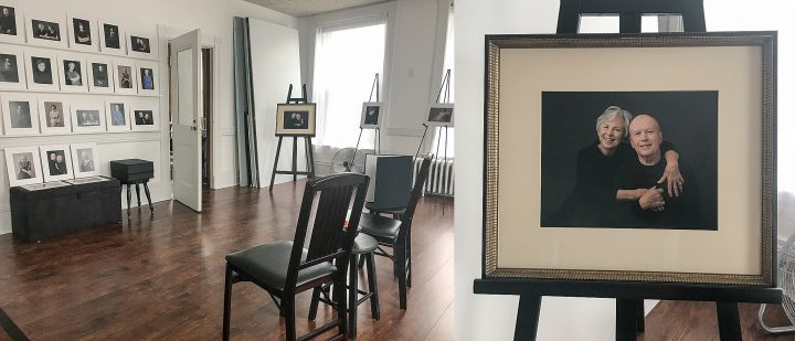 Photos of the print reveal session and a custom framed portrait