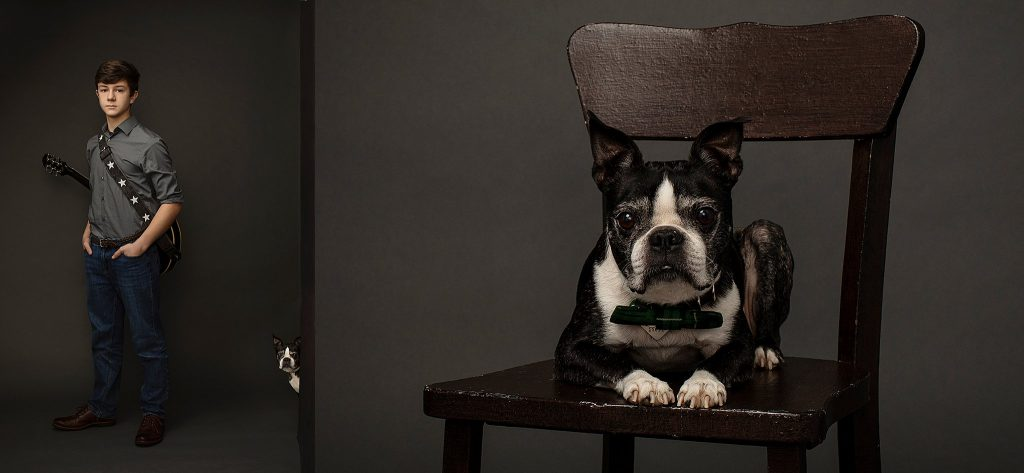 Portrait of Alex with dog peeking around corner / NH pet photographer