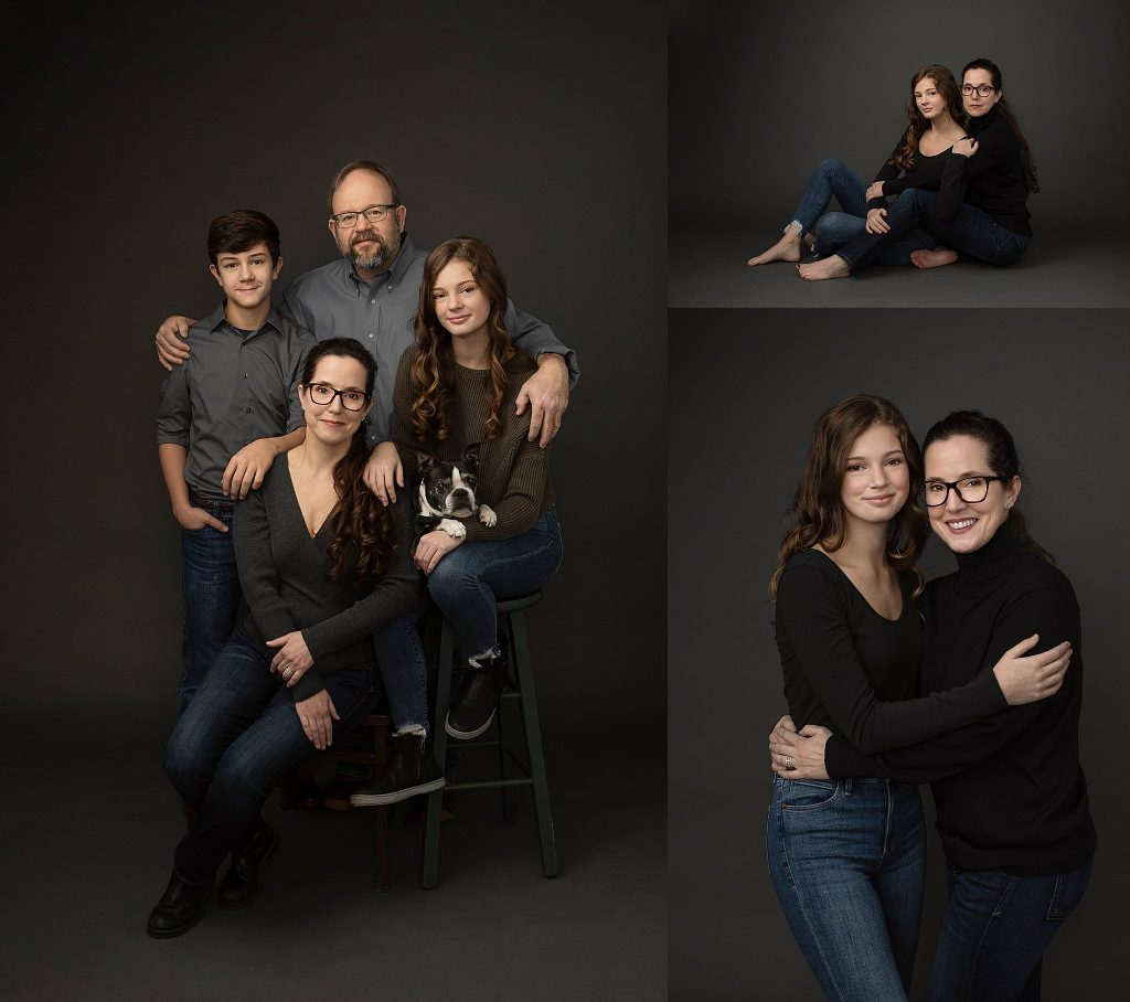 NH family portraits with dog / mother and teenage daughter