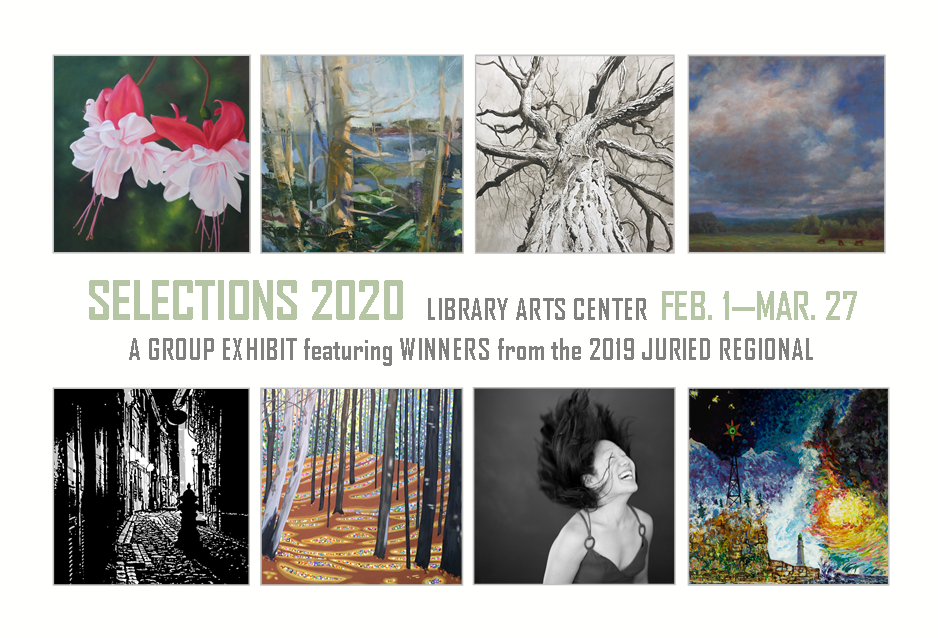"promotional postcard for Library Arts Center ""Selections 2020"" group exhibit"